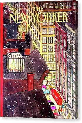 Shopping Canvas Print - New Yorker December 7th, 1992 by Roxie Munro