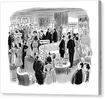 Gathering Canvas Print - New Yorker February 11th, 1961 by Robert J. Day