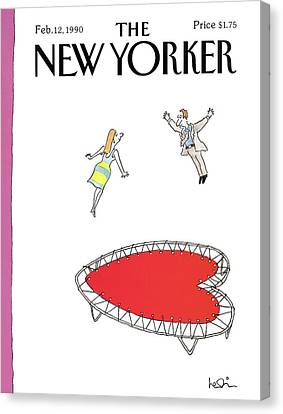 Dating Canvas Print - New Yorker February 12th, 1990 by Arnie Levin