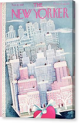 New Yorker February 15th, 1947 Canvas Print by Ilonka Karasz