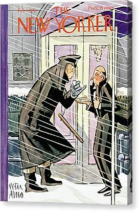 Police Officer Canvas Print - New Yorker February 1st, 1941 by Peter Arno