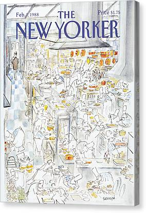 Pot Canvas Print - New Yorker February 1st, 1988 by Jean-Jacques Sempe