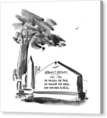 Headstones Canvas Print - New Yorker February 24th, 1997 by Donald Reilly