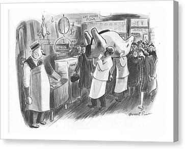 Carcass Canvas Print - New Yorker February 26th, 1944 by Garrett Price