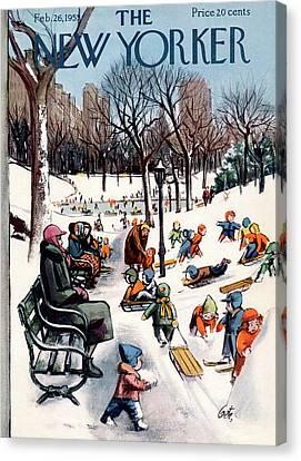 1955 Canvas Print - New Yorker February 26th, 1955 by Arthur Getz