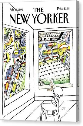 New Yorker February 28th, 1994 Canvas Print by Saul Steinberg