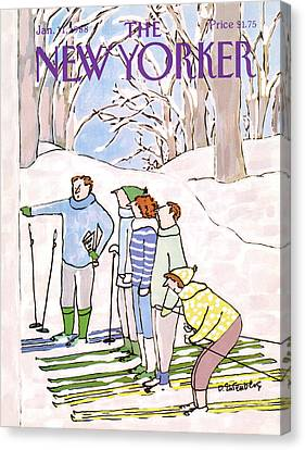 Fitness Instructor Canvas Print - New Yorker January 11th, 1988 by Devera Ehrenberg