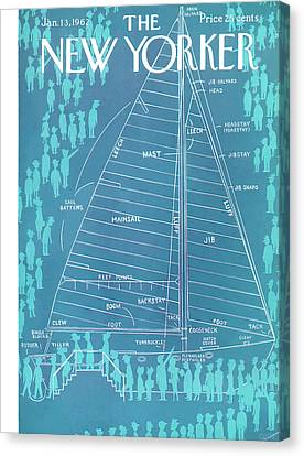 Sailing Ocean Canvas Print - New Yorker January 13th, 1962 by Charles E. Martin