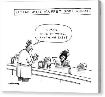 Little Miss Muffet Canvas Print - New Yorker January 13th, 1992 by Mick Stevens