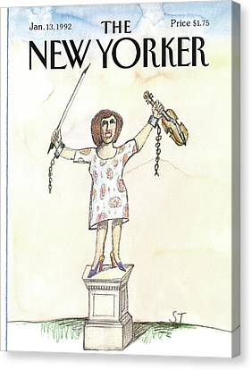 New Yorker January 13th, 1992 Canvas Print by Saul Steinberg