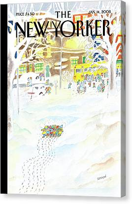 School Bus Canvas Print - New Yorker January 14th, 2008 by Jean-Jacques Sempe