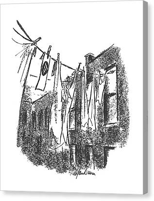 Clothes Line Canvas Print - New Yorker January 16th, 1943 by Alan Dunn
