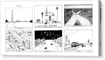 Amarillo Texas Canvas Print - New Yorker January 16th, 1978 by Saul Steinberg