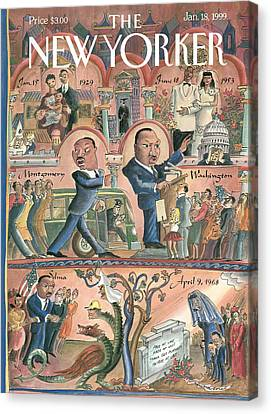 Martin Luther King Jr Canvas Print - New Yorker January 18th, 1999 by Edward Sorel