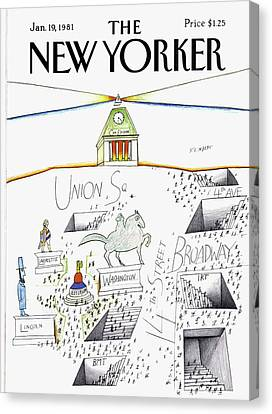 New Yorker January 19th, 1981 Canvas Print by Saul Steinberg