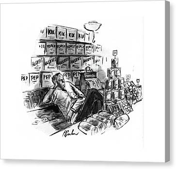 Grocery Store Canvas Print - New Yorker January 25th, 1941 by Perry Barlow