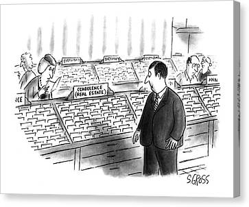 Debt Canvas Print - New Yorker January 25th, 1993 by Sam Gross