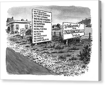 Jogging Canvas Print - New Yorker January 25th, 1999 by John Jonik