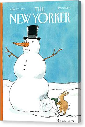 Snow Melt Canvas Print - New Yorker January 27th, 1992 by Danny Shanahan