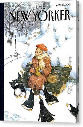 Park Benches Canvas Print - New Yorker January 29th, 2001 by Peter de Seve