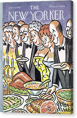 Buffet Canvas Print - New Yorker January 30th, 1965 by Peter Arno