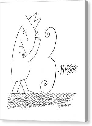Pi Canvas Print - New Yorker January 5th, 1963 by Saul Steinberg