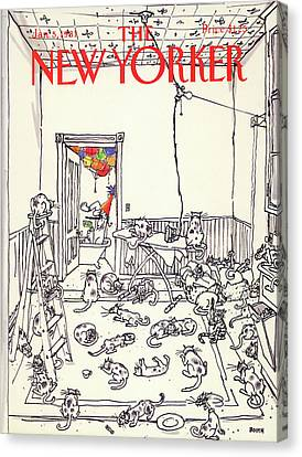 January Canvas Print - New Yorker January 5th, 1981 by George Booth