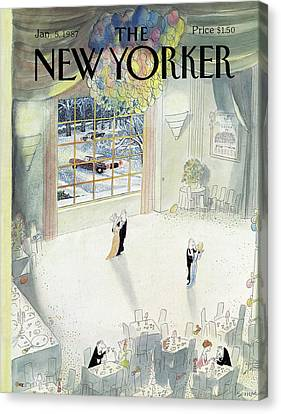 January Canvas Print - New Yorker January 5th, 1987 by Jean-Jacques Sempe