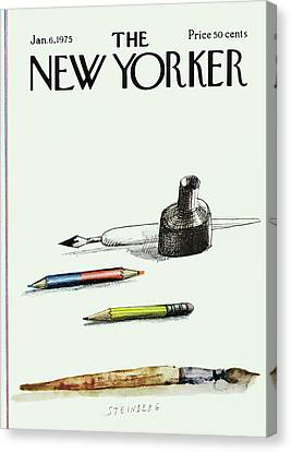 January Canvas Print - New Yorker January 6th, 1975 by Saul Steinberg