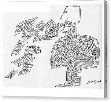 New Yorker January 7th, 1961 Canvas Print by Saul Steinberg