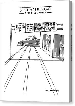 Sidewalk Canvas Print - New Yorker July 12th, 1999 by Michael Crawford