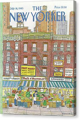 Grocery Store Canvas Print - New Yorker July 18th, 1983 by Barbara Westman