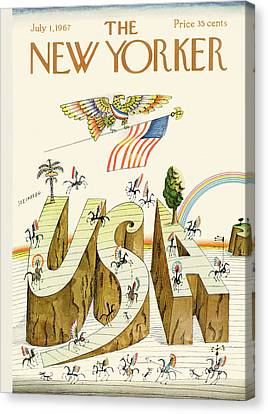 New Yorker July 1st, 1967 Canvas Print by Saul Steinberg