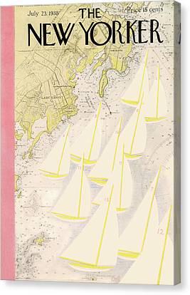 New England Ocean Canvas Print - New Yorker July 23rd, 1938 by Arthur Getz