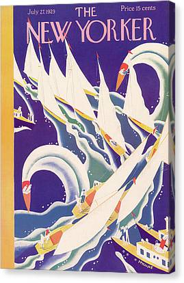 Sailing Ocean Canvas Print - New Yorker July 27th, 1929 by Theodore G. Haupt