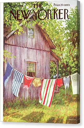 Clothesline Canvas Print - New Yorker July 28th, 1956 by Edna Eicke