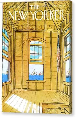 Wooden Building Canvas Print - New Yorker July 2nd, 1979 by Arthur Getz
