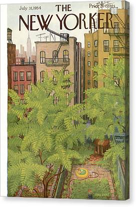 Fire Escape Canvas Print - New Yorker July 31st, 1954 by Edna Eicke