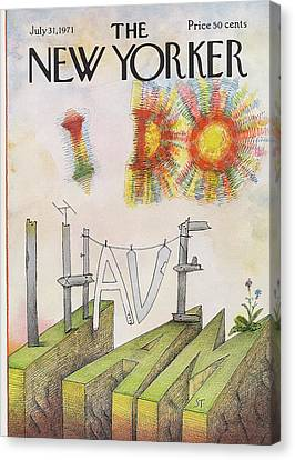 Sunshine Canvas Print - New Yorker July 31st, 1971 by Saul Steinberg