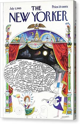 New Yorker July 3rd, 1965 Canvas Print by Saul Steinberg