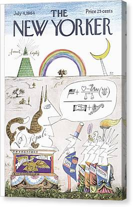 New Yorker July 4th, 1964 Canvas Print by Saul Steinberg