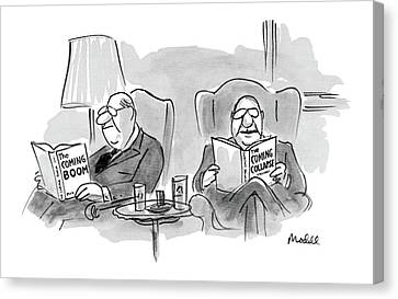 Reading A Book Canvas Print - New Yorker July 4th, 1983 by Frank Modell