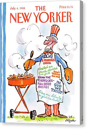 New Yorker July 4th, 1988 Canvas Print by Lee Lorenz