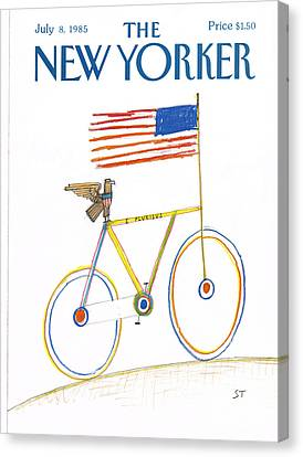 Eagle And Flag Canvas Print - New Yorker July 8th, 1985 by Saul Steinberg