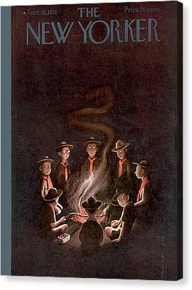 Ghost Story Canvas Print - New Yorker June 16th, 1951 by Rea Irvin