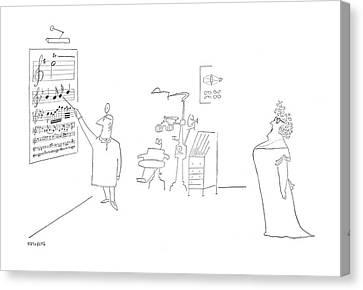 Optometrist Canvas Print - New Yorker June 17th, 1950 by Saul Steinberg