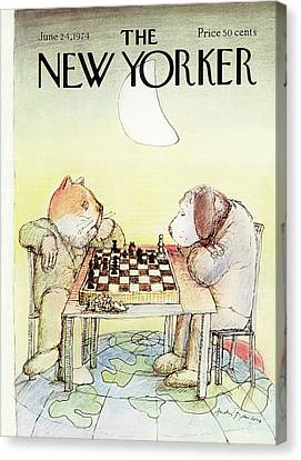 Pet Canvas Print - New Yorker June 24th, 1974 by Andre Francois