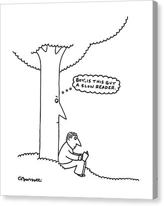 Reading A Book Canvas Print - New Yorker June 26th, 1995 by Charles Barsotti