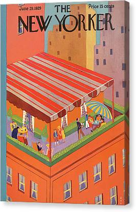 Brunch Canvas Print - New Yorker June 29th, 1929 by Ray Euffa
