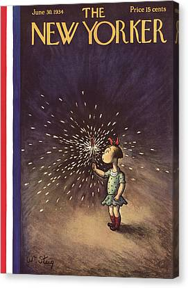 Red Fireworks Canvas Print - New Yorker June 30th, 1934 by William Steig